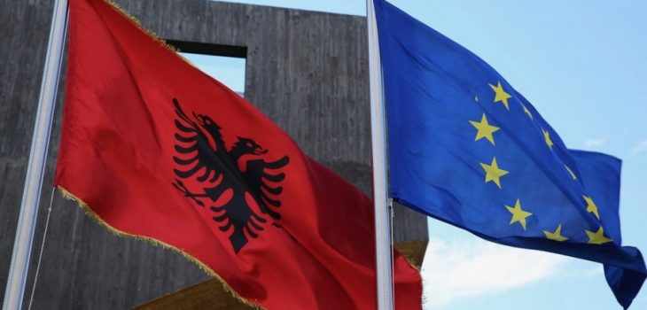Albania flag next to the EU flag