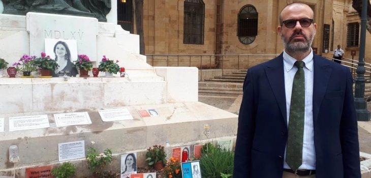 Nello Scavo at the memorial to Daphne Caruana Galizia
