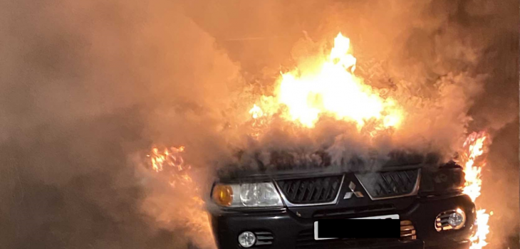 Photo of a car on fire