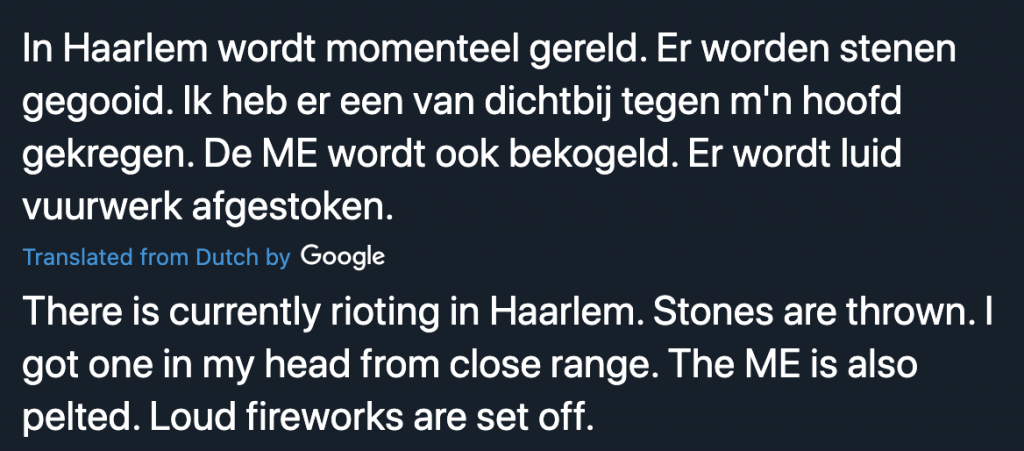 Tweet about riots in The Netherlands