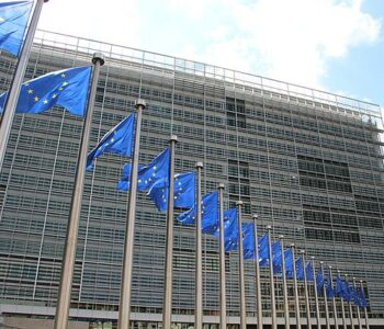 EU flags outside the European Commission