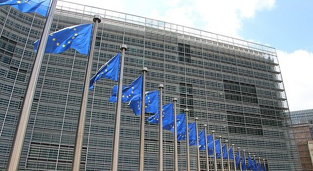 EU flags outside the European Commission