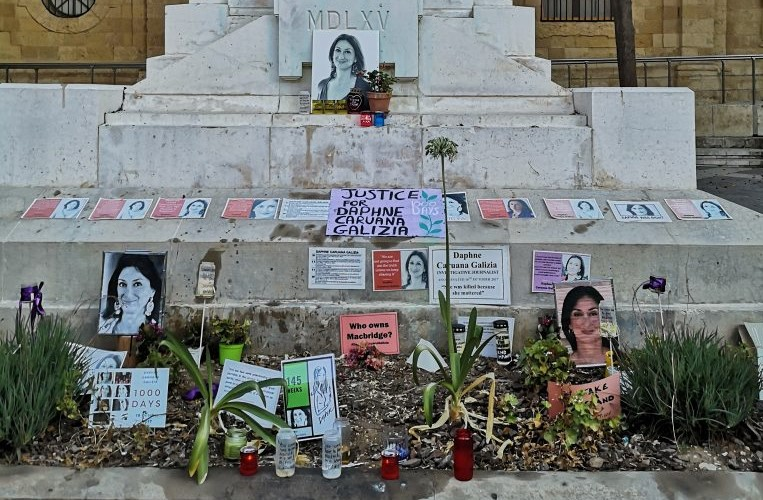Photo of memorial to Daphne Caruana Galizia in Valletta